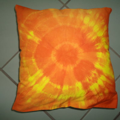 Plangi-Polster orange-gelb